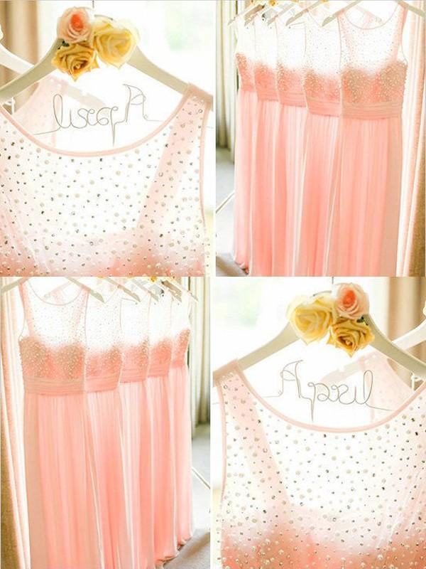 A-Linie/Princess-Stil Ärmellos U-Ausschnitt Perlenstickerei Bodenlang Chiffon Brautjungfernkleider