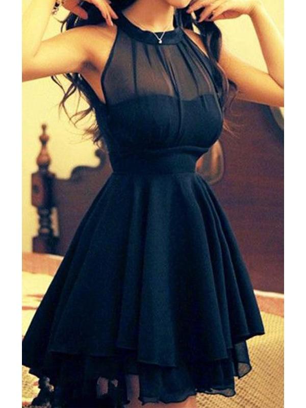 A-Linie/Princess-Stil Juwel-Ausschnitt Ärmellos Chiffon Kurz/Mini Kleider