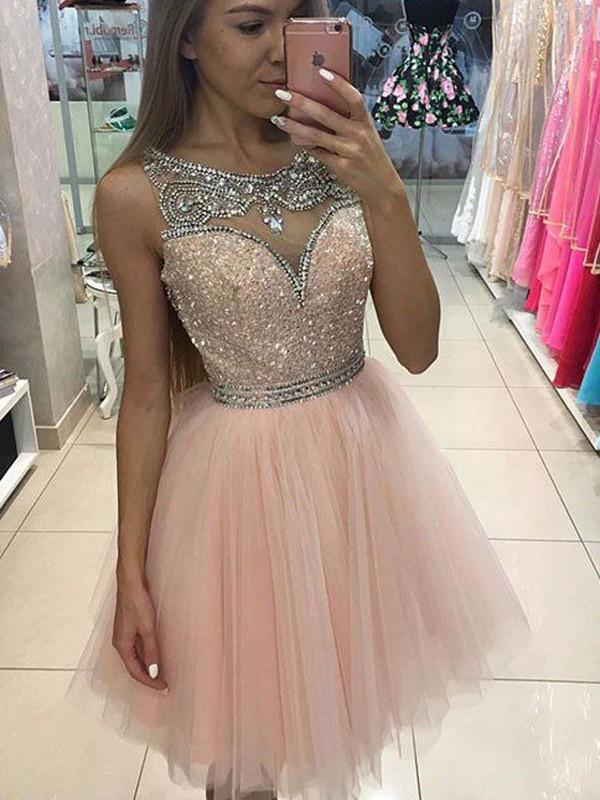 A-Linie/Princess-Stil Ärmellos U-Ausschnitt Perlenstickerei Kurz/Mini Tülle Kleider