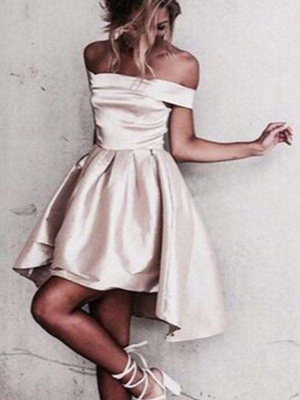 A-Linie/Princess-Stil Ärmellos Carmen-Ausschnitt Satin Kurz/Mini Kleider