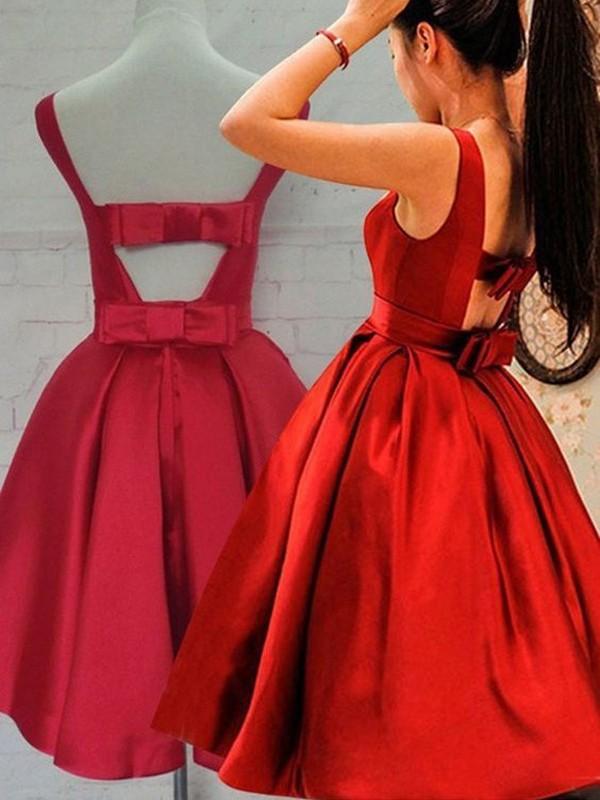A-Linie/Princess-Stil Ärmellos U-Ausschnitt Schärpen/Bänder Satin Kurz/Mini Kleider