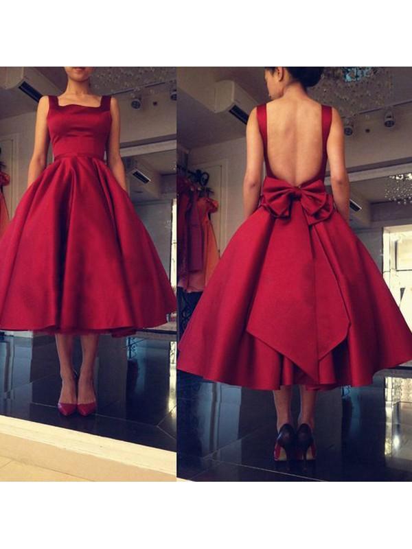 A-Linie/Princess-Stil Ärmellos Carré-Ausschnitt Schleife Satin Kurz/Mini Kleider
