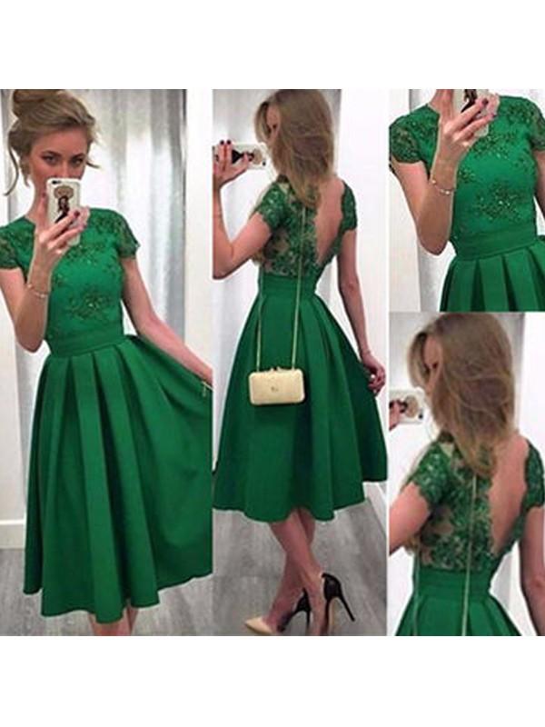A-Linie/Princess-Stil Kurze Ärmel U-Ausschnitt Spitze Satin Kurz/Mini Kleider
