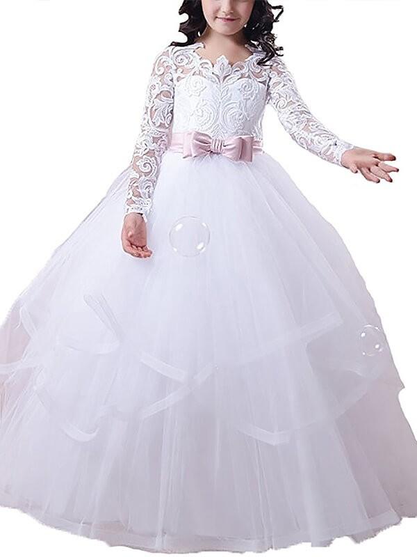 Duchesse-Linie Juwel-Ausschnitt Lange Ärmel Spitze Bodenlang Tülle Blumenmädchenkleider