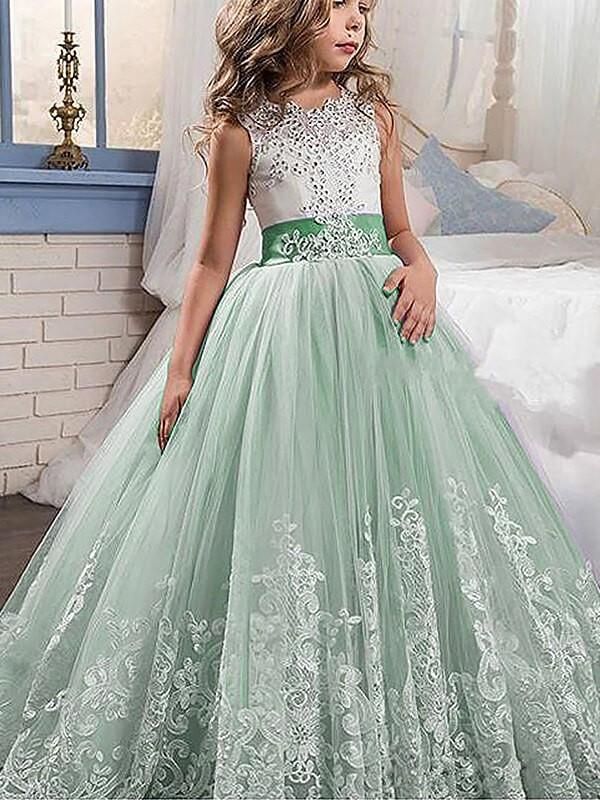 Duchesse-Linie Juwel-Ausschnitt Ärmellos Spitze Sweep/Pinsel zug Tülle Blumenmädchenkleider