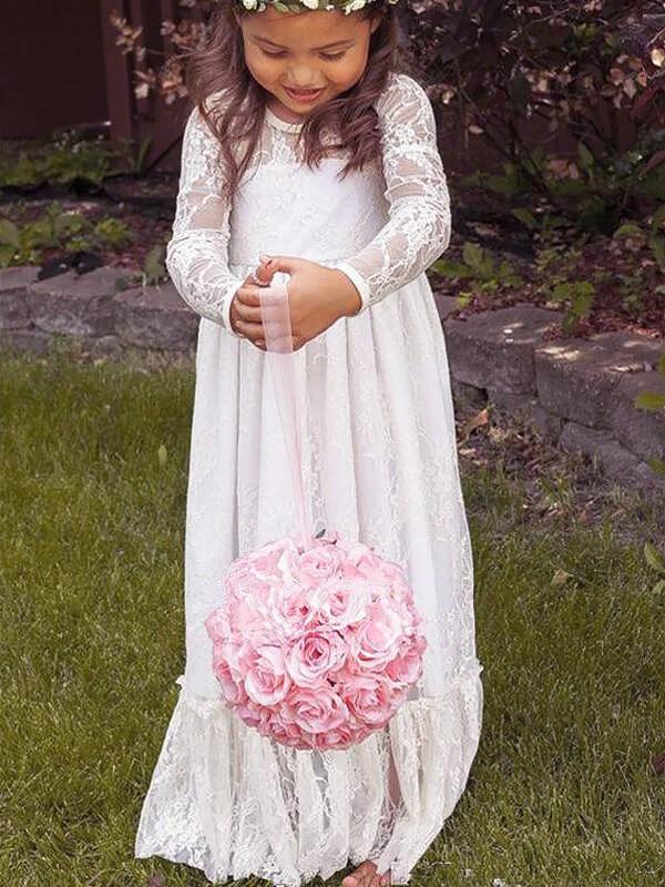 A-Linie/Princess-Stil Lange Ärmel Juwel-Ausschnitt Schleife Spitze Bodenlang Blumenmädchenkleider