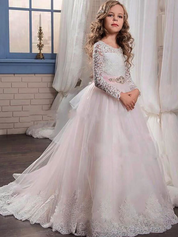Duchesse-Linie Juwel-Ausschnitt Lange Ärmel Spitze Sweep/Pinsel zug Tülle Blumenmädchenkleider