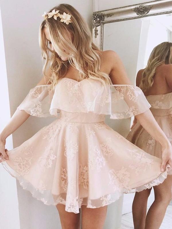 A-Linie/Princess-Stil Carmen-Ausschnitt Ärmellos Kurz/Mini Spitze Kleider