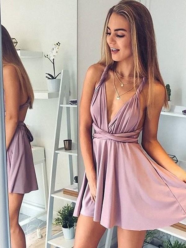 A-Linie/Princess-Stil V-Ausschnitt Ärmellos Kurz/Mini Kunstseide Kleider