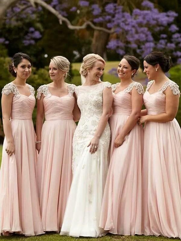 A-Linie/Princess-Stil Kurze Ärmel Carré-Ausschnitt Perlenstickerei Chiffon Bodenlang Brautjungfernkleider