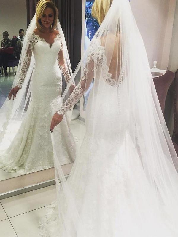 Etui-Linie V-Ausschnitt Lange Ärmel Sweep/Pinsel zug Spitze Brautkleider