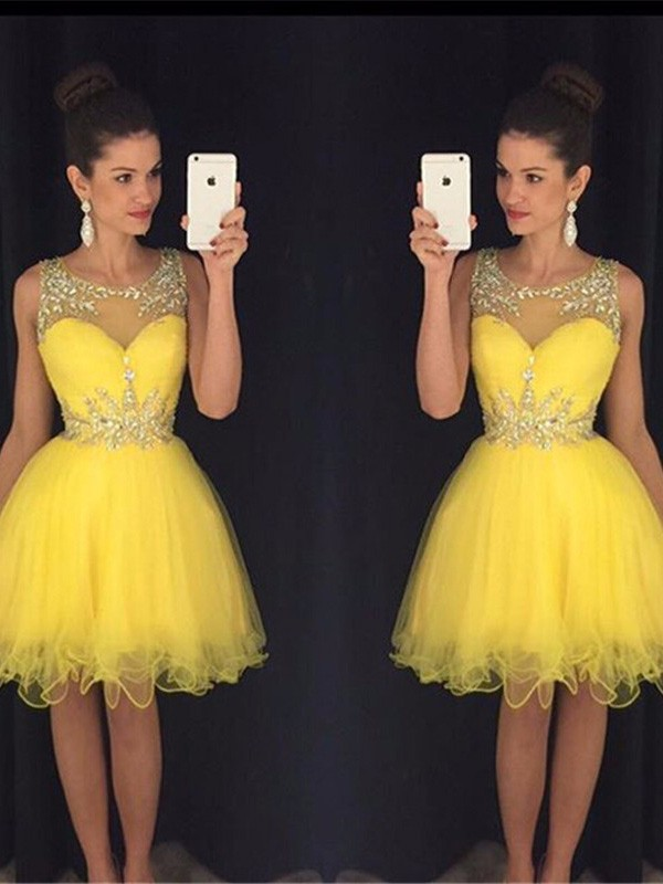 A-Linie/Princess-Stil U-Ausschnitt Ärmellos Perlenstickerei Tülle Kurz/Mini Kleider