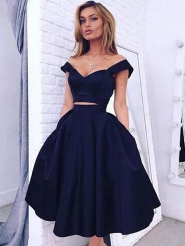 A-Linie/Princess-Stil Carmen-Ausschnitt Ärmellos Knielang Satin Kleider
