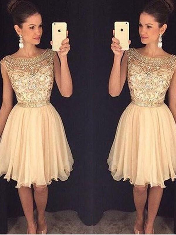 A-Linie/Princess-Stil U-Ausschnitt Ärmellos Kurz/Mini Perlenstickerei Chiffon Kleider