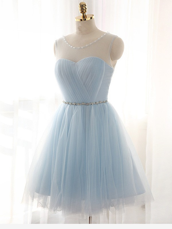 A-Linie/Princess-Stil U-Ausschnitt Perlenstickerei Ärmellos Kurz/Mini Tülle Kleider