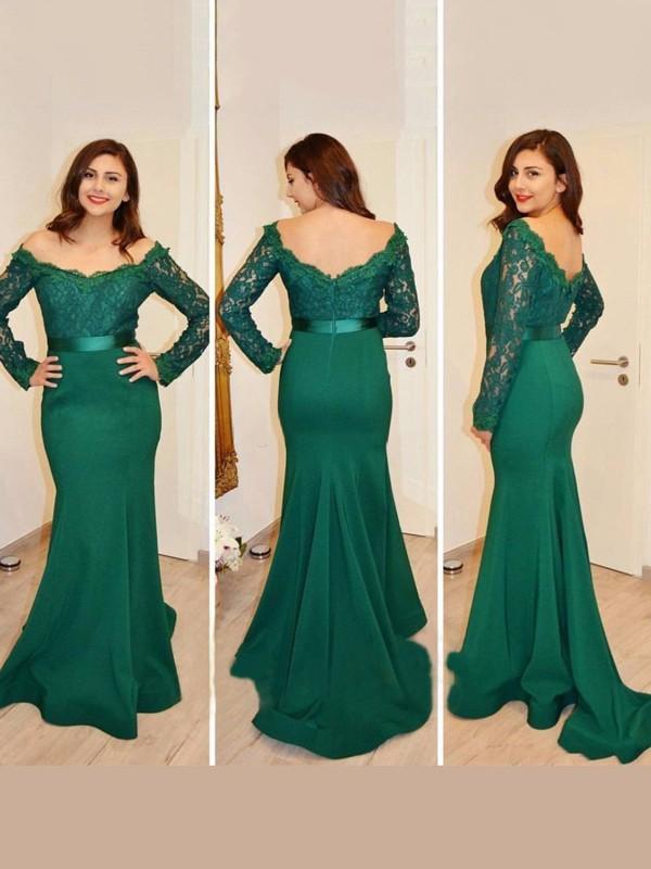 Meerjungfrau-Linie/Mermaid-Stil Carmen-Ausschnitt Lange Ärmel Applikation Bodenlang Satin Kleider