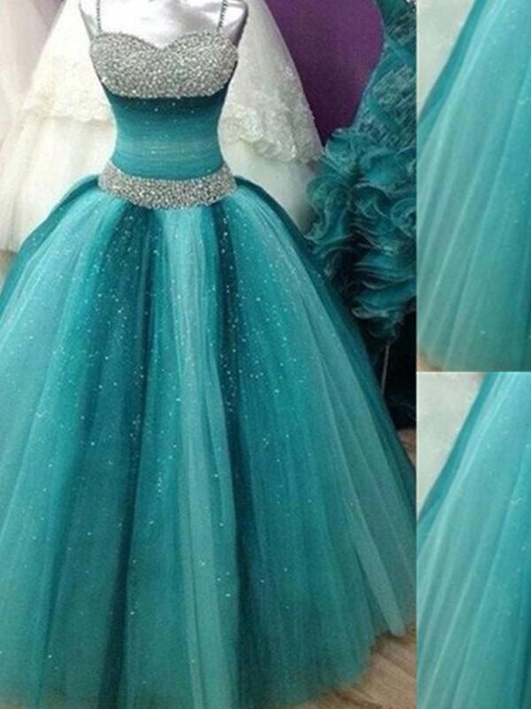 Duchesse-Linie Spaghettiträger Ärmellos Perlenstickerei Tülle Bodenlang Kleider