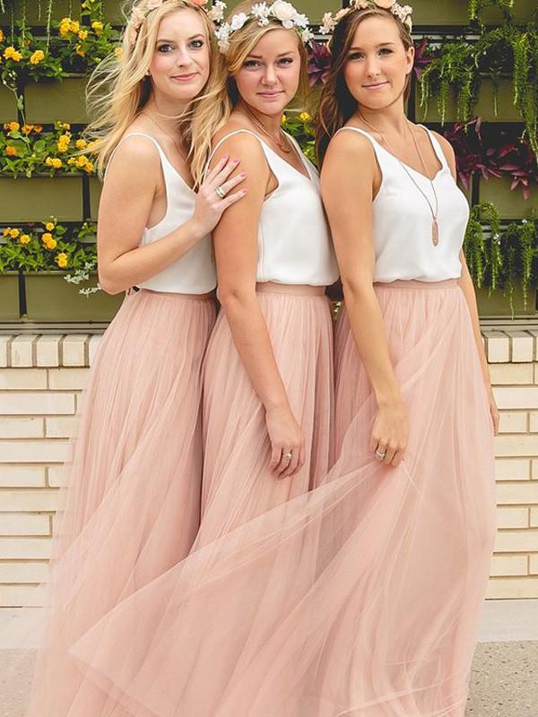 A-Linie/Princess-Stil V-Ausschnitt Ärmellos Bodenlang Tülle Brautjungfernkleider
