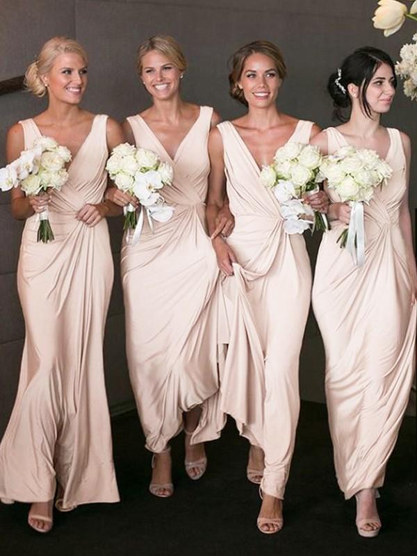 A-Linie/Princess-Stil V-Ausschnitt Ärmellos Bodenlang Chiffon Brautjungfernkleider