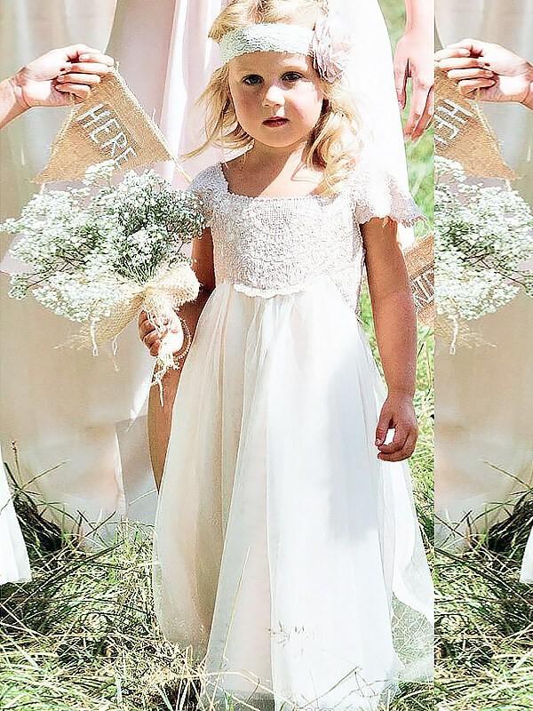 A-Linie/Princess-Stil Carré-Ausschnitt Kurze Ärmel Spitze Bodenlang Chiffon Blumenmädchenkleider