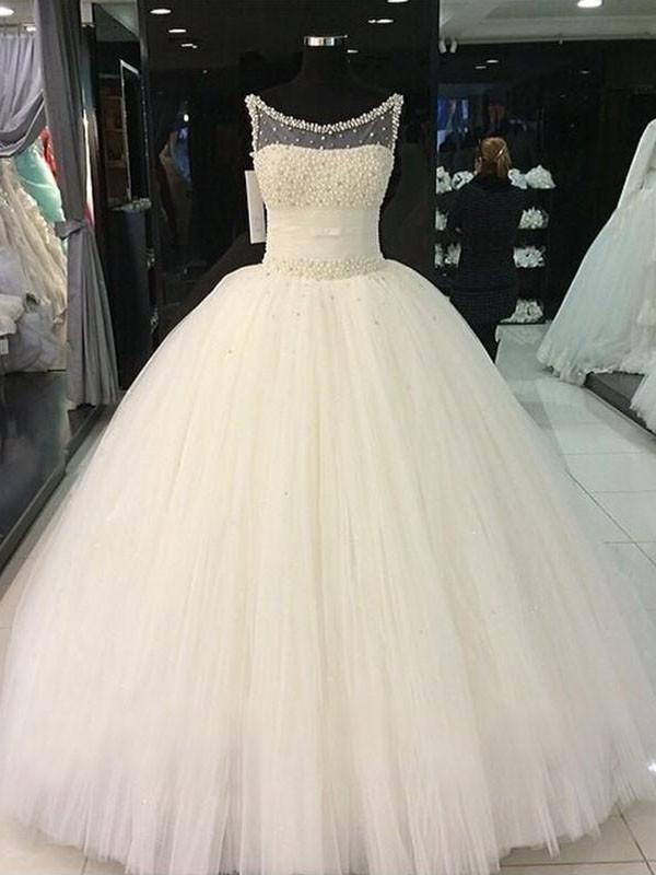 Duchesse-Linie U-Ausschnitt Perlen verziert Tüll Ärmellos Bodenlang Brautkleider