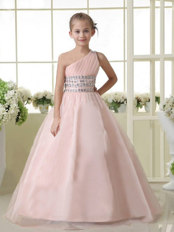A-Linie/Princess-Linie  One-Shoulder-Träger Ärmellos Perlen verziert Lange Organza Blumenmädchenkleider