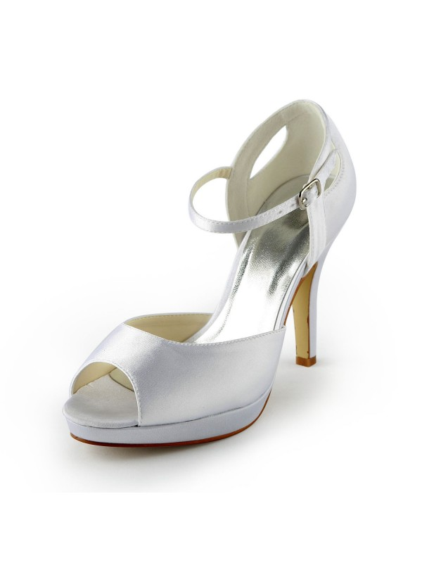 Women's Satin Stiletto Heel Peep Toe Plateauschuhe Sandalen White Hochzeitsschuhe With Buckle