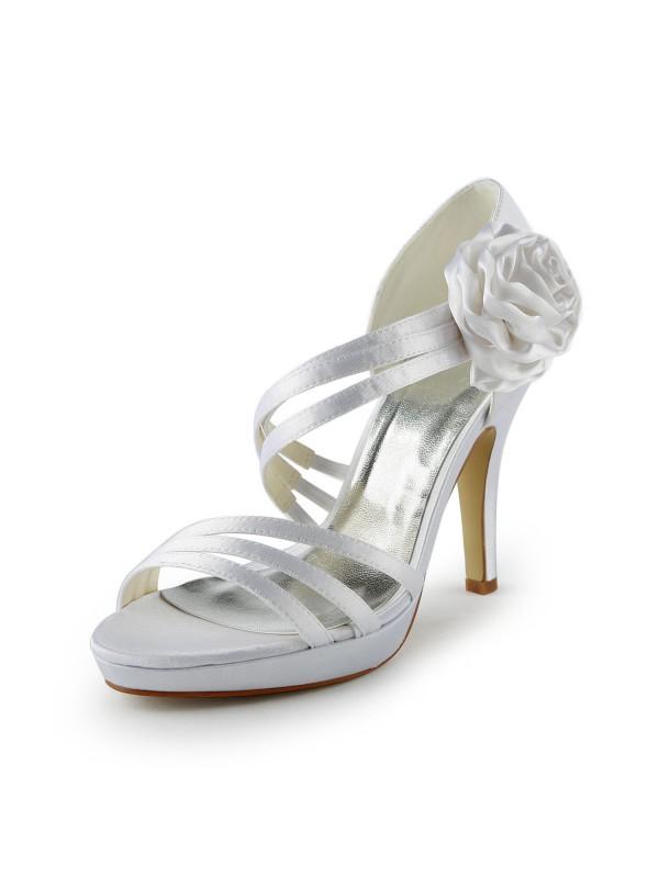 Women's Satin Stiletto Heel Plateauschuhe Sandalen White Hochzeitsschuhe With Flower