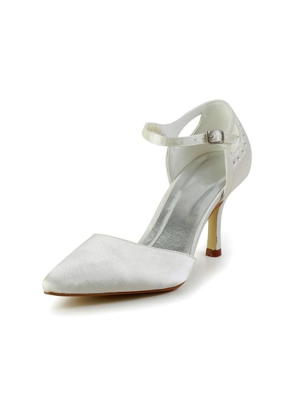 Women's Satin Stiletto Heel Closed Toe Pumps White Hochzeitsschuhe