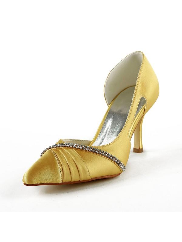 Women's Satin Stiletto Heel Closed Toe Pumps Gold Hochzeitsschuhe With Strasssteine