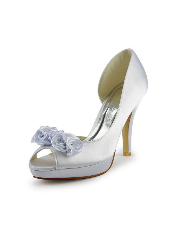 Women's Satin Stiletto Heel Peep Toe With Flower White Hochzeitsschuhe