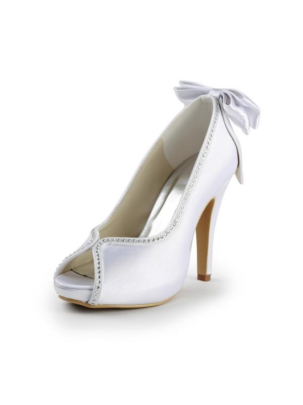 Women's Satin Stiletto Heel Peep Toe With Schleifen White Hochzeitsschuhe