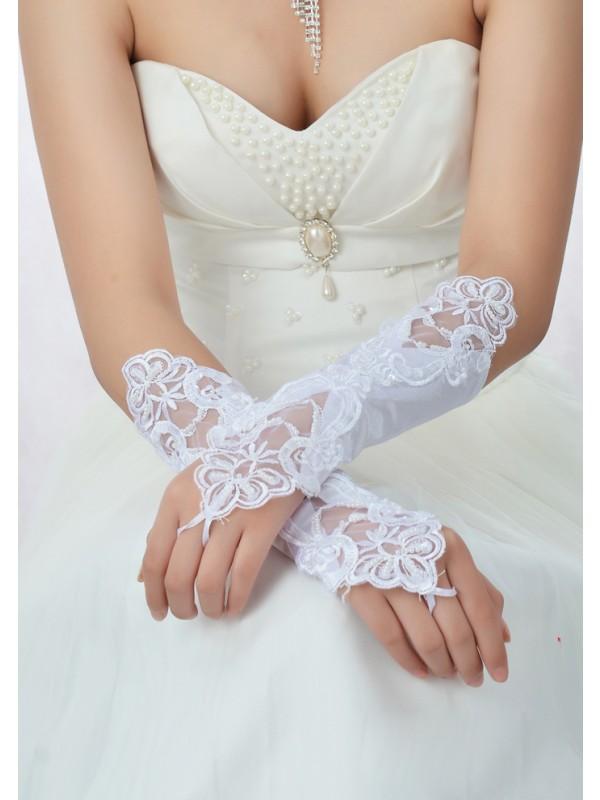 Stunning Perlen verziert Spitze Satin Wedding Gloves