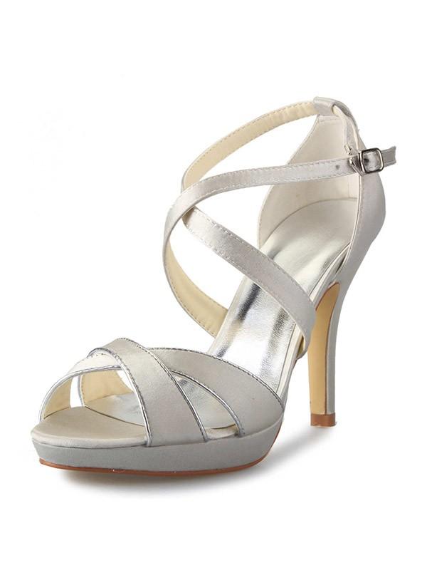 Women's Satin Stiletto Heel Plateauschuhe Peep Toe With Buckle Dance Schuhe