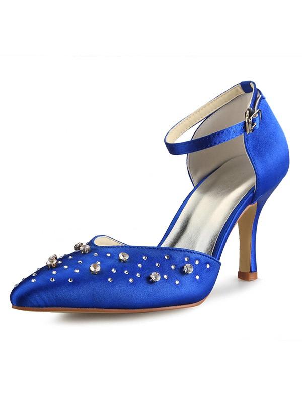 Women's Satin Cone Heel Mary Jane Closed Toe With Strasssteine Hohe Schuhe