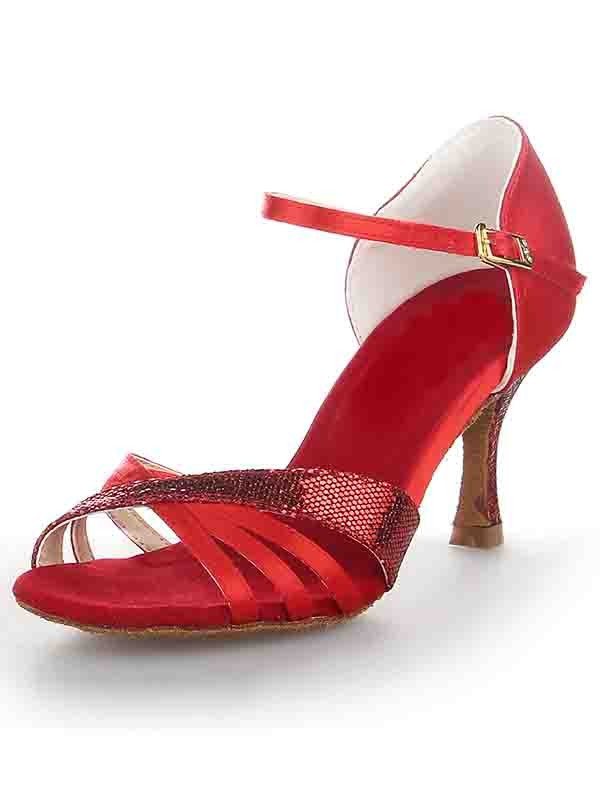 Women's Stiletto Heel Satin Peep Toe Buckle Dance Schuhe
