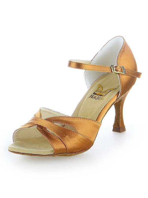 Women's Peep Toe Satin Buckle Stiletto Heel Dance Schuhe