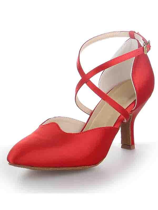 Women's Satin Stiletto Heel Close Toe Buckle Dance Schuhe