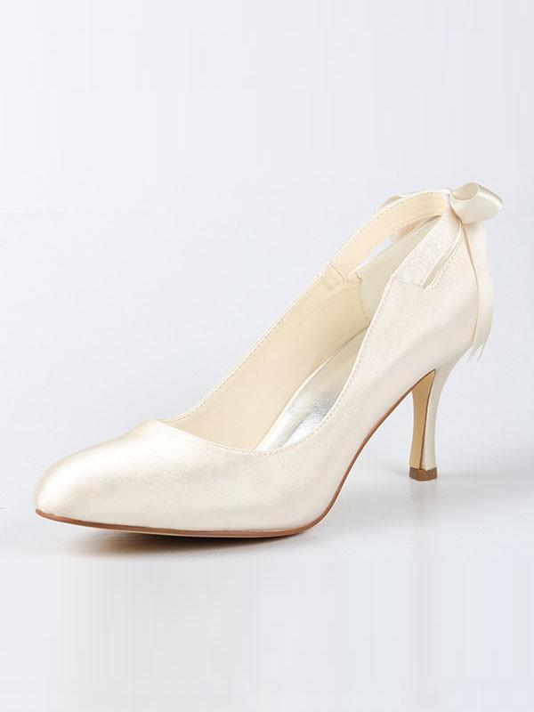 Women's Satin Closed Toe Spool Heel With Schleifen Ivory Hochzeitsschuhe