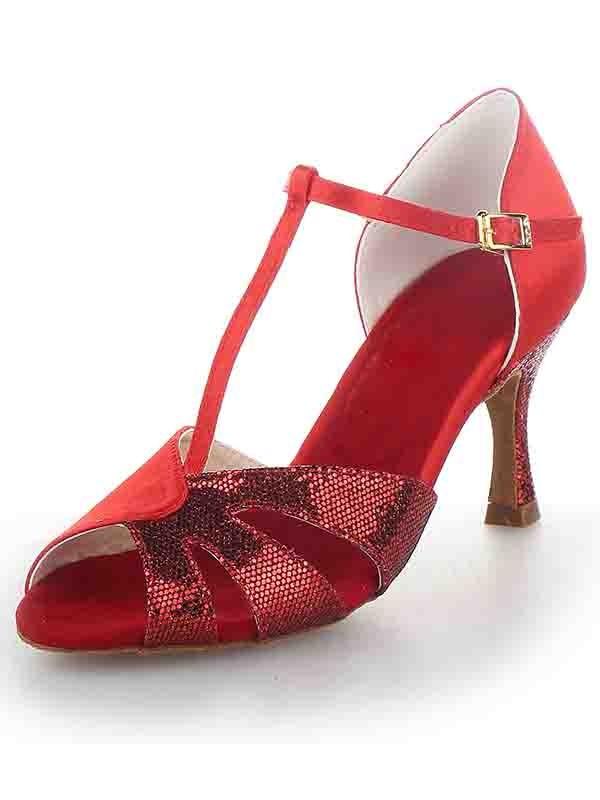 Women's T-Strap Peep Toe Stiletto Heel Satin Sparkling Glitter Dance Schuhe