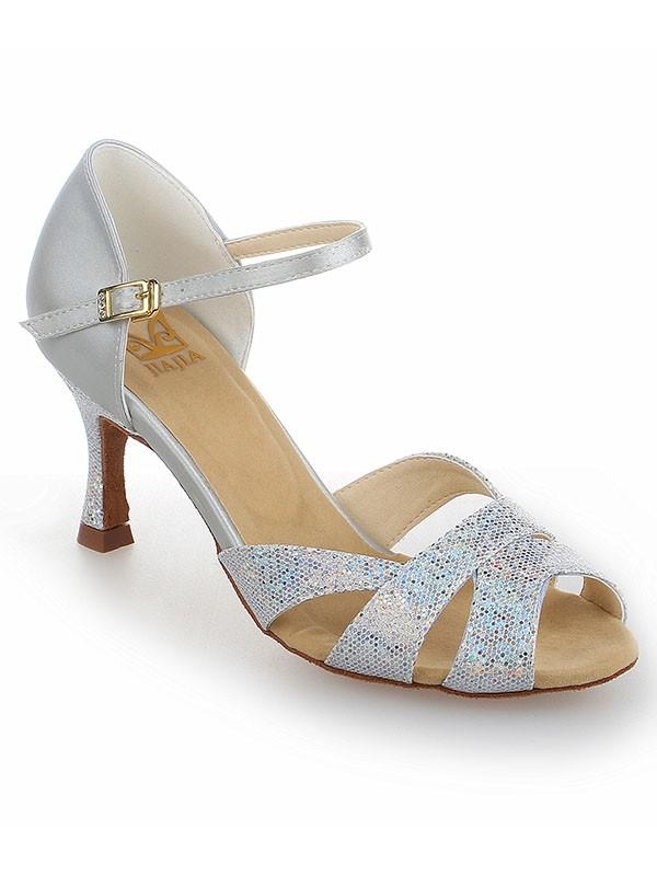 Women's Satin Stiletto Heel Peep Toe With Sparkling Glitter Dance Schuhe