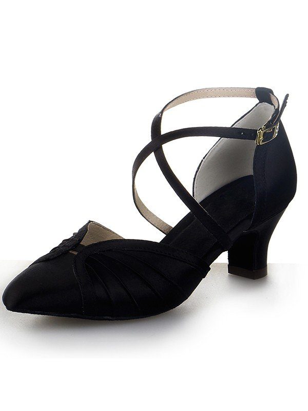 Women's Closed Toe Satin Chunky Heel Buckle Dance Schuhe