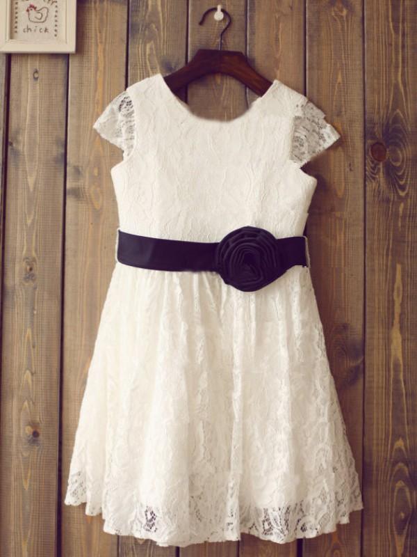 A-Linie/Princess-Linie  U-Ausschnitt Kurze Ärmel Handgemachte Blume Lange Spitze Kleider