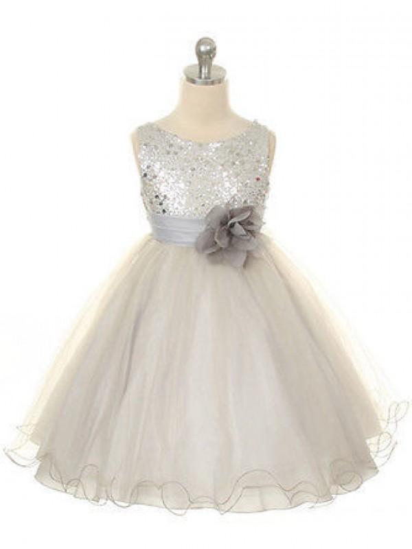 Duchesse-Linie Juwel-Ausschnitt Ärmellos Handgemachte Blume Lange Organza Kleider