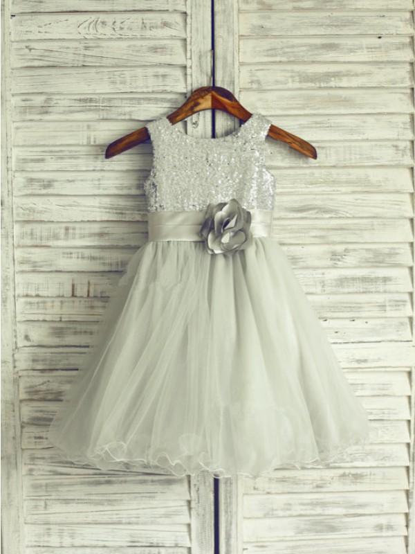 A-Linie/Princess-Linie  U-Ausschnitt Ärmellos Handgemachte Blume Lange Netz Kleider