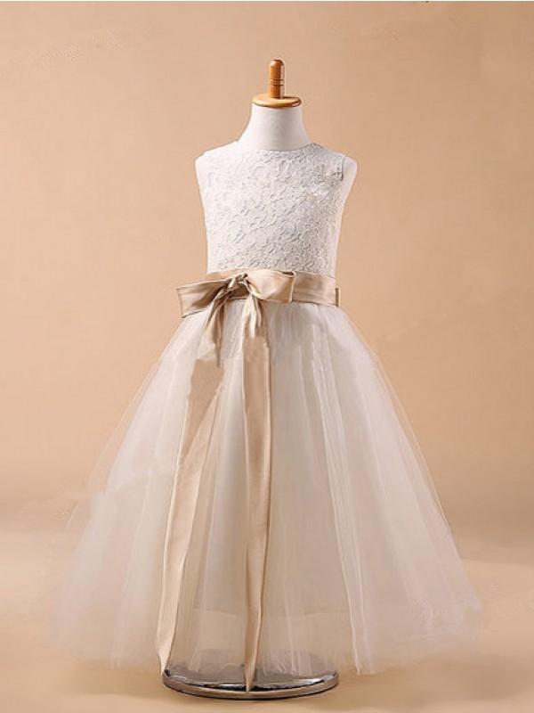 Duchesse-Linie Juwel-Ausschnitt Ärmellos Schleifen Lange Tüll Kleider