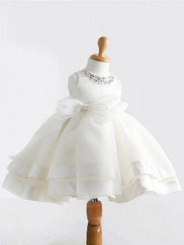Duchesse-Linie Juwel-Ausschnitt Ärmellos Schleifen Lange Satin Kleider