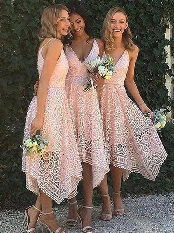 Turnschuhe für billige Vielzahl von Designs und Farben am besten bewertet neuesten A-Linie/Princess-Stil Ärmellos V-Ausschnitt Asymmetrisch Spitze  Brautjungfernkleider