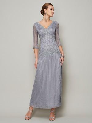 Etui-Linie V-Ausschnitt 1/2 Ärmel Perlen verziert Lange Stretch-Satin Brautmutterkleider
