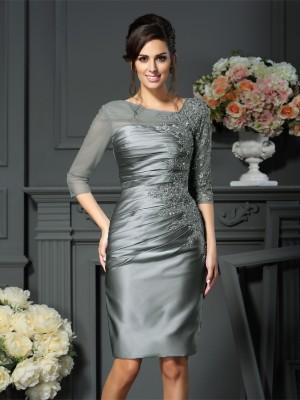 Etui-Linie U-Ausschnitt Perlen verziert 1/2 Ärmel Kurz Satin Brautmutterkleider